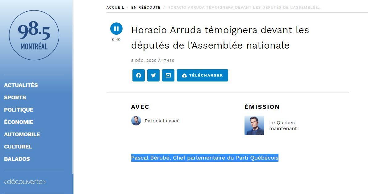 Horacio Arruda témoignera devant les députés de l'Assemblée nationale – 98.5 Montréal